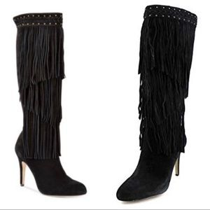 INC Tomi Fringe Black Suede Knee High Dress Boots